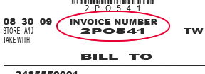 How to find invoice number.